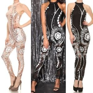 Pants - Halter sequin jumpsuit